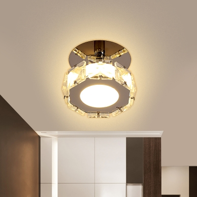 Round/Square Crystal Ceiling Fixture Contemporary LED Chrome Semi Mount Lighting in Warm/White Light for Corridor