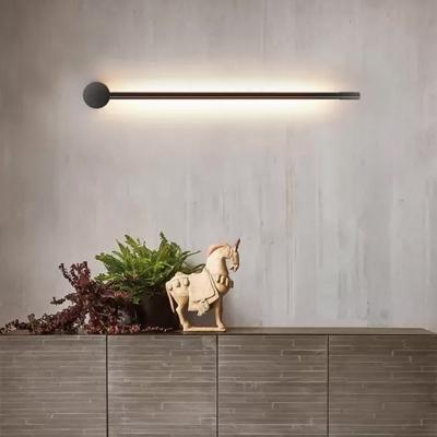 Slim Stick Wall Mount Lighting Minimalist Metallic LED Hallway Surface Wall Sconce in Black/Gold