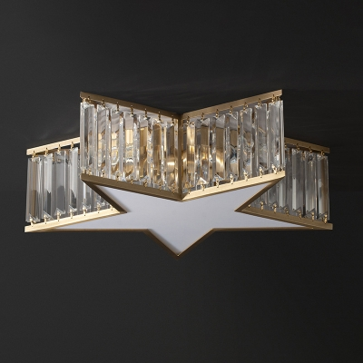 Clear Crystal Star Flush Mount Fixture Contemporary 5 Lights Ceiling Light for Bedroom