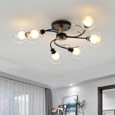 Clear Glass Globe Semi Flush Ceiling Light Modernism 6 Heads Black/Gold Lighting Fixture with Spiral Design