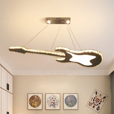 Guitar Ceiling Pendant Light Simplicity Beveled Crystal LED White Chandelier Lamp Fixture
