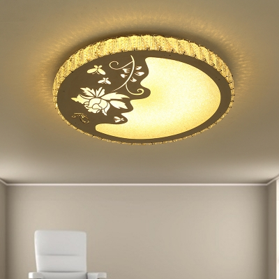 LED Bedroom Ceiling Mounted Fixture Simple Chrome Floral Patterned Flush Light with Round Crystal Shade