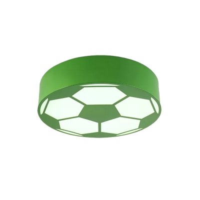 LED Playroom Close to Ceiling Lamp Modernism Black/Red/Yellow Flush Mount Light with Football Acrylic Shade
