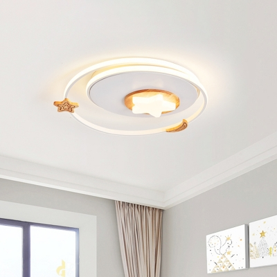 Round Flush Mount Lighting Kids Style Acrylic LED White Ceiling Fixture with Wood Star Deco