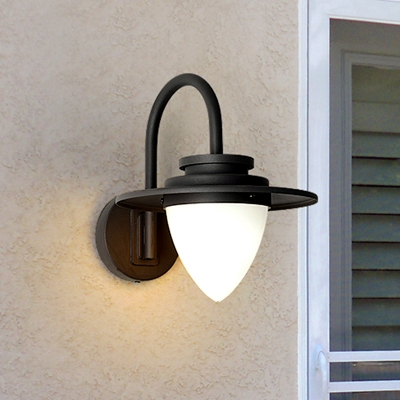 Beautifulhalo coupon: 1 Bulb Frosted Glass Wall Lamp Factory Black/Dark Coffee Teardrop Patio Wall Lighting with Swirled Arm