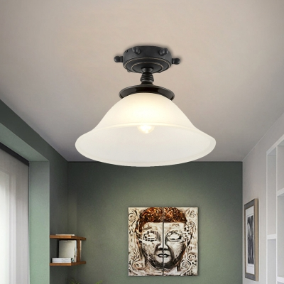 Black Bell Semi Flush Mount Light Cartoon 1 Light Frosted Glass Ceiling Lighting for Corridor