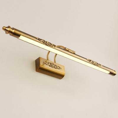 Brass Slim Vanity Mirror Lamp Classic LED Metallic Adjustable Wall Mount Lighting with Embossed Design in Warm/White Light