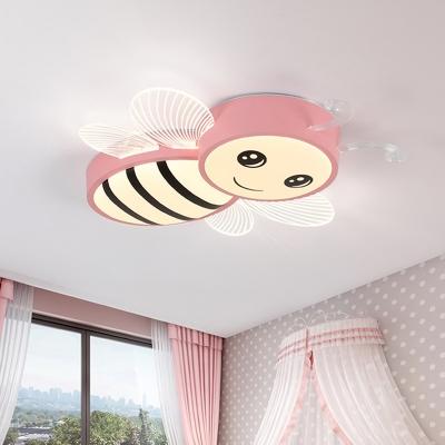 Cartoon Bee Plastic Flush Mount Lamp Macaron LED Yellow/Pink/Blue Ceiling Light Fixture for Nursery
