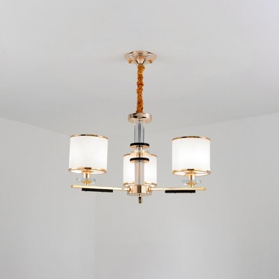 Cylinder Ceiling Suspension Lamp Modern Opal Glass 3-Light Living Room Chandelier in Gold