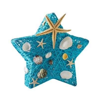 Handmade Starfish USB Night Light Kids Rattan Blue/Beige/Flaxen LED Table Lamp with Seashell Detail