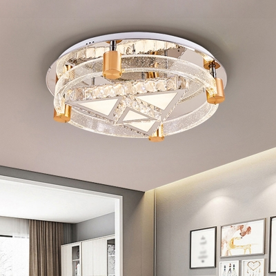 Simple Moon and Star/Triangle Ceiling Lighting Clear Crystal LED Bedroom Semi Flush Light Fixture in Chrome