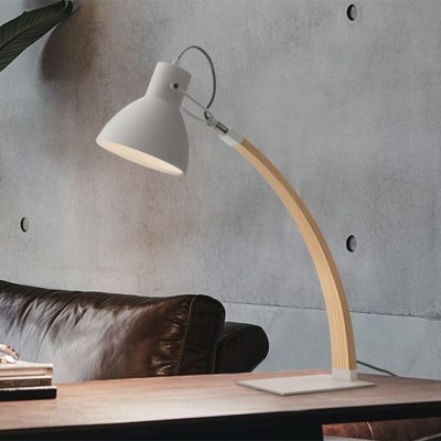 Conical Table Lighting Modernist Metal 1 Bulb Black/White Night Lamp with Bent Arm for Study Room