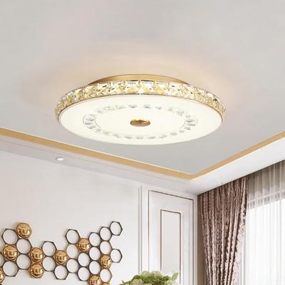 Crystal Round Flush Ceiling Light Fixture Minimalist Chrome/Gold LED Flush Mount Lamp for Dining Room, 16