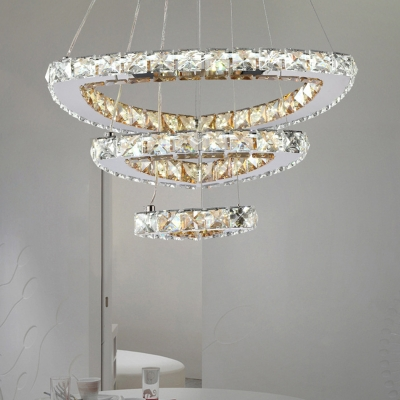 Faceted Crystal Oval Pendant Chandelier Contemporary LED Chrome Hanging Lamp Kit for Dining Room