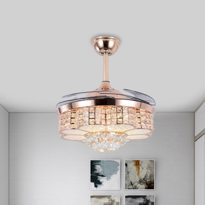 Flower Fan Lighting Contemporary Clear Crystal Rose Gold LED Semi Flush Light with 4 Blades, 19