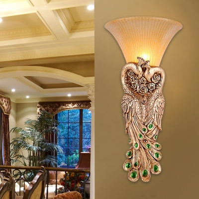 Gold 1 Light Wall Mounted Lighting Rural Resin Dual Peacock Wall Light Fixture with Yellow Glass Shade