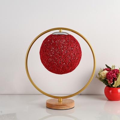 Kids Spherical Night Table Light Rattan 1 Light Bedroom Nightstand Lamp in Beige/Red with Metal Ring Deco