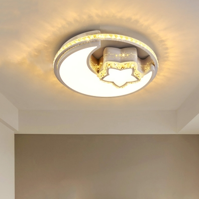 LED Bedroom Flush Ceiling Light Simple White Crystal Lighting Fixture with Moon and Star/Flower Acrylic Shade