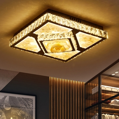 Living Room LED Flush Light Fixture Simple Chrome Floral Patterned Ceiling Flush with Square Crystal Shade