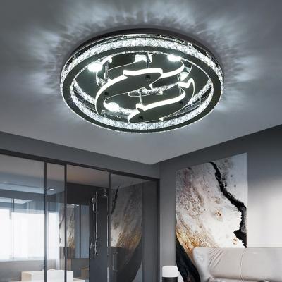 Minimal Ring Semi Flush Beveled Crystal LED Bedroom Ceiling Light Fixture in Chrome with Inner Dolphin Design