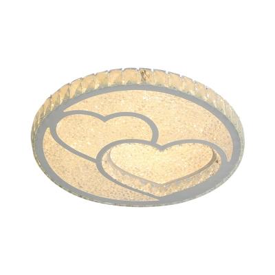 Simple Circle Flush Mount Light Crystal LED Bedroom Ceiling Lighting in Stainless-Steel with Loving Heart Design, Warm/White Light