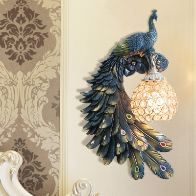 1 Bulb Peacock Sconce Light Rustic White/Red/Green Resin Wall Mounted Lamp with Ball Crystal Encrusted Shade, Right/Left