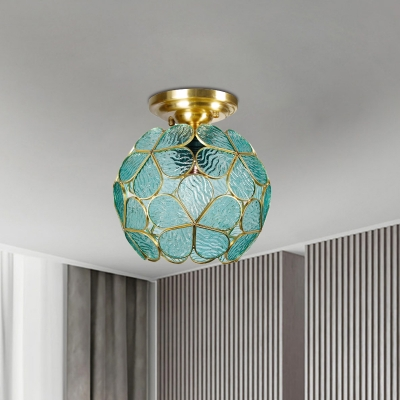 Baroque Blossom Semi Flush Light 1 Head White/Pink/Blue Glass Close to Ceiling Lamp in Brass for Corridor