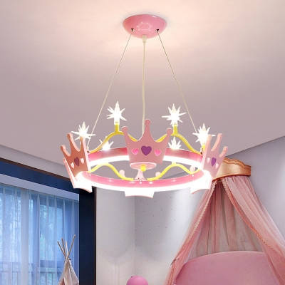 Butterfly/Crown Circle Chandelier Kids Iron 4-Light Pink Hanging Ceiling Light for Girl's Bedroom