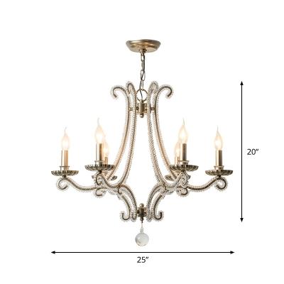 Clear Crystal Candle Hanging Chandelier Modernist 6 Lights Living Room Ceiling Pendant Lamp