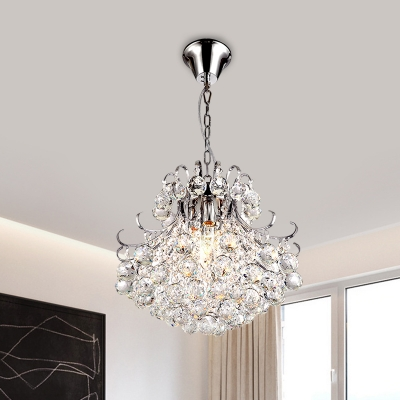 Conic Crystal Ball Suspension Lamp Simple 3 Lights Chrome Ceiling Chandelier with Curvy Arm