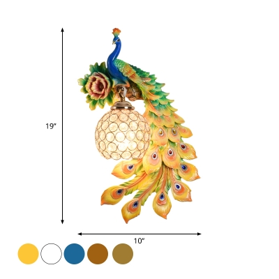 Country Peacock Wall Light Fixture 1-Bulb Resin Sphere Wall Mount Lighting in White/Yellow/Orange for Living Room, Left/Right