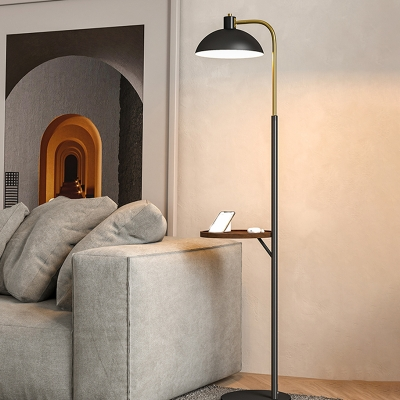 Dome Living Room Floor Standing Light Metallic 1 Bulb Contemporary Floor Lamp With Table Design In Black Beautifulhalo Com