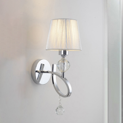 Fabric Tapered Wall Light Fixture Modern 1 Bulb Chrome Wall Sconce with Twisted Arm