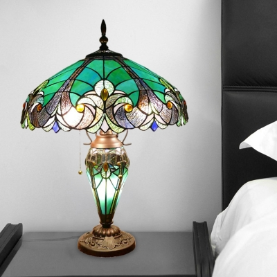 Green Diamond Night Table Lighting Tiffany 3 Heads Stained Glass Pull Chain Desk Lamp with Bowl Shade