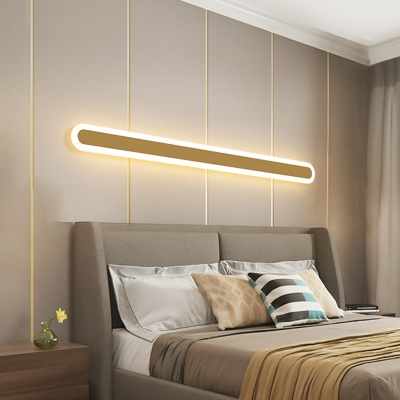 LED Living Room Wall Lamp Modernist Gold Wall Sconce with Linear Metal Shade in Warm/White Light, 12