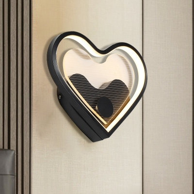 Loving Heart/Cloud Bedside Wall Sconce Acrylic LED Contemporary Wall Mounted Lamp in Black/White