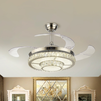 Round Crystal Semi Flush Light Fixture Modernist 19