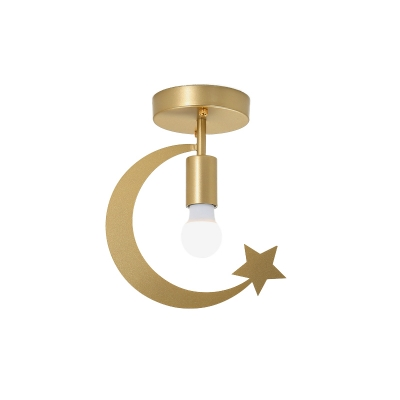 Star and Crescent Corridor Flushmount Metal 1 Head Modernism Ceiling Light with Bare Bulb in Grey/Gold