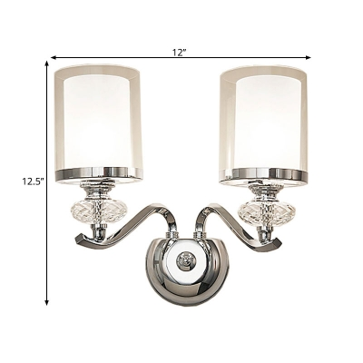 1/2-Bulb Chrome Dual Cylinder Wall Lamp Minimalism Clear and Opaline Glass Wall Mounted Light
