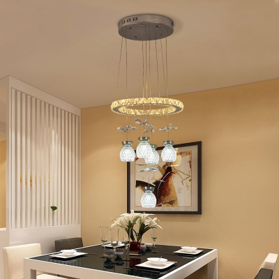 Clear Crystal Bubble Chandelier Modernity 3/5 Heads Pendant Light Kit in Chrome with Loop Design