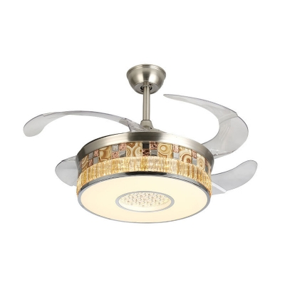 Clear Crystal Round Fan Light Contemporary 19