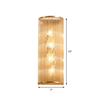 Column Flush Mount Wall Sconce Minimal Crystal 4 Bulbs Living Room Wall Lamp in Gold