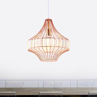 Crystal Block Urn Hanging Pendant Light Modern 1 Light Ceiling Suspension Lamp in Rose Gold