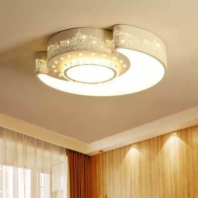 Crystal Sun and Moon Flush Mount Contemporary LED Ceiling Fixture in White with Castle Pattern
