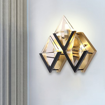 Gold Rhombus Wall Mount Lamp Simple 3 Lights Clear Glass Wall Light Sconce for Living Room