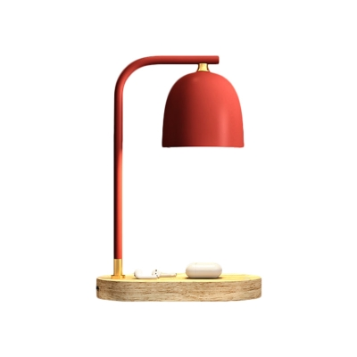 Metal Domed Night Lighting Simple 1-Light Reading Table Lamp with Wooden Oval Pedestal in Black/White/Red