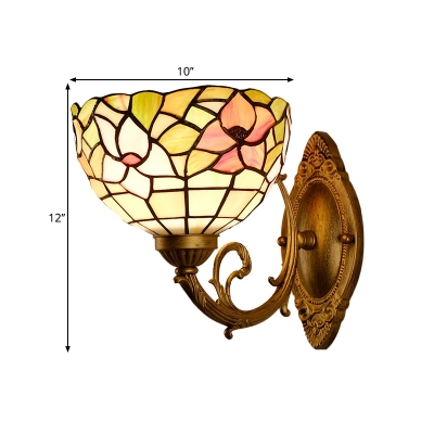 Bowl Shade Sconce Light Fixture 1 Light Cut Glass Mediterranean Floral Patterned Wall Mounted Lamp in Gold