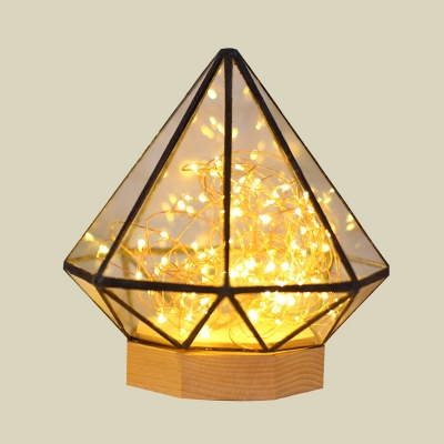 Clear Glass Diamond Nightstand Lamp Kids Wood LED Table Fairy String Light with Inner Prince Statue