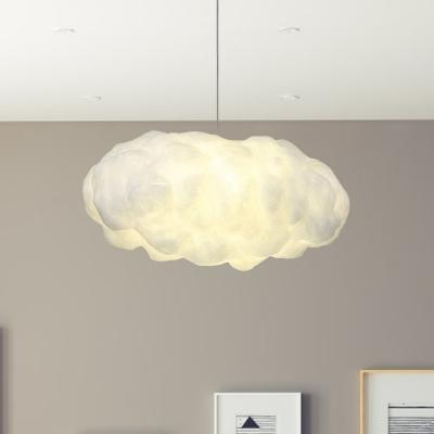 Cotton Cloud Pendant Light Fixture Cartoon 1 Bulb White Suspension Lighting