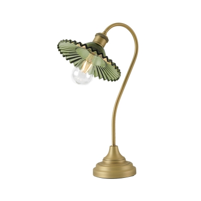 Green/Grey Ribbed Glass Flared Desk Lamp Minimalist 1-Bulb Night Table Light with Bent Arm in Gold